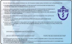 Patent żeglarza jachtowego - wzór, rewers